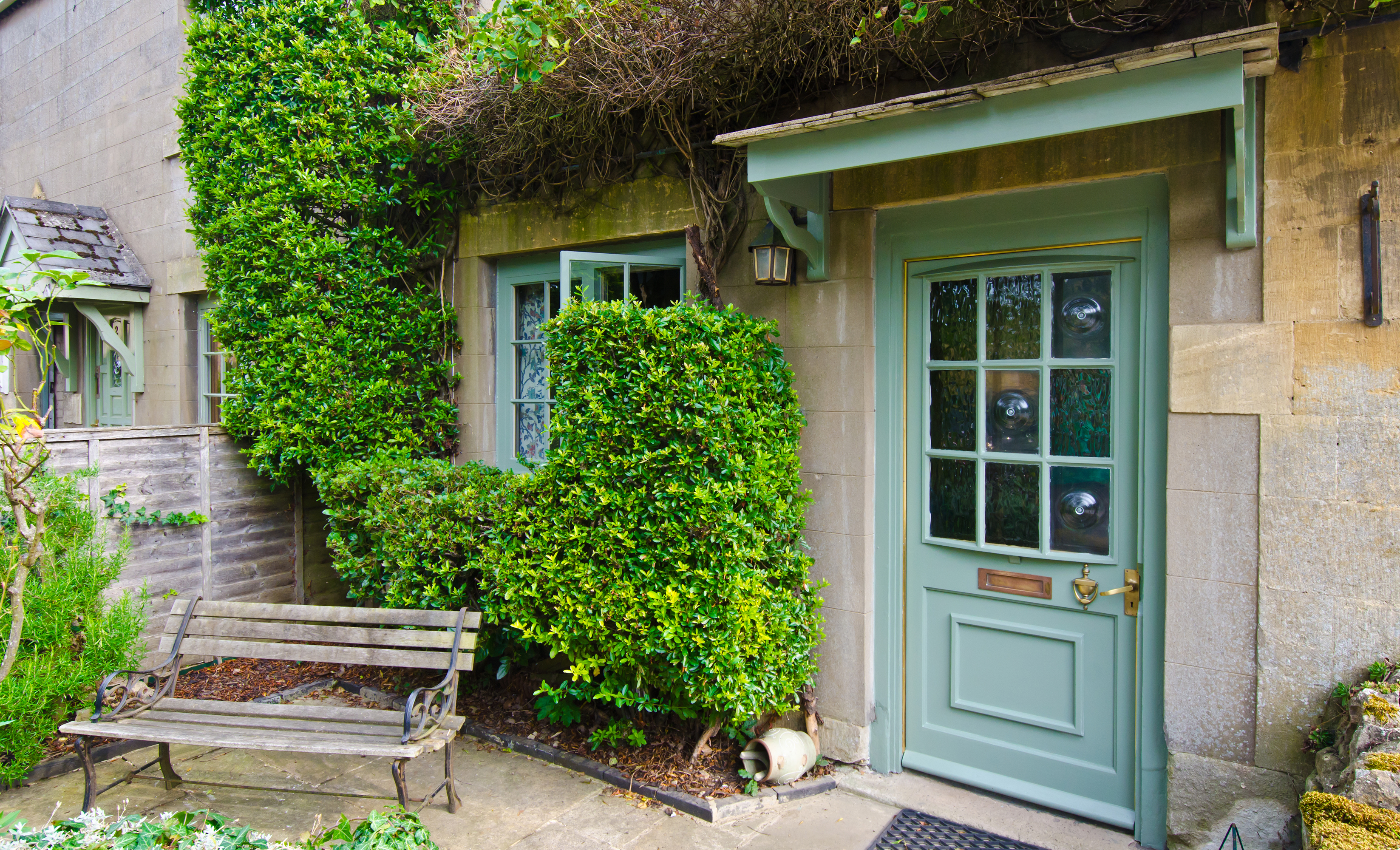 Country house with green plants growing on it
